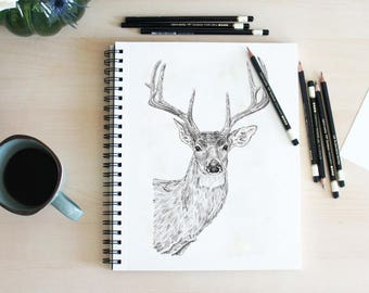 Deer Wall Art, Woodland Art, Hunting Gift, Deer Head, Deer Drawing, Deer Art, Woodland Animal Art, Deer Print, Deer Art Print, Deer Wall Art