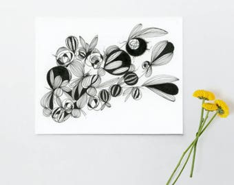 Flora Pods, Black and White Art, Abstract Drawing, Wall Decor, Modern Art, Minimalist, Contemporary Art, Black Ink, Original Art 6in x 8in