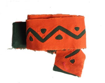 Fabric Supplies. Reverse Applique Long Band- Bright Orange and Rainforest Green