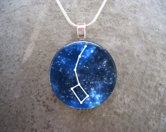 Little Dipper Constellation Jewelry - Glass Pendant Necklace - Astronomy