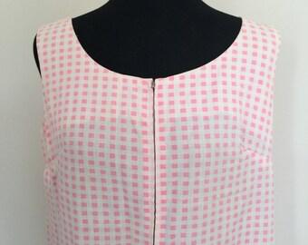 vintage 60s pink gingham dress mini dress house dress plus size go go scooter 1960s 70s