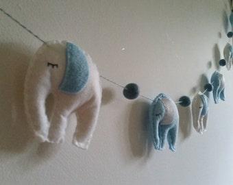 Felt and Fleece sleepy elephant garland. Nursery garland. Choose your colours. MADE TO ORDER