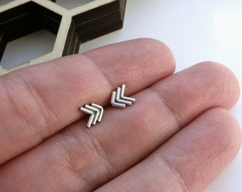 Chevron stud earrings in sterling silver nickel free studs minimalist chevron studs dainty studs nickel free studs mix and match earrings