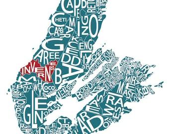Cape breton map Etsy