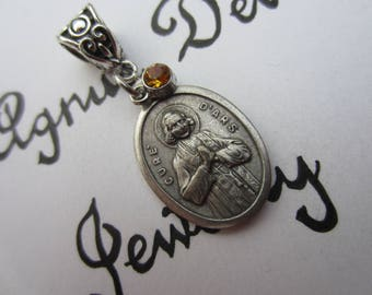 St John Vianney Medal & Gold Yellow Glass Charm Pendant, Patron Saint of Priests, Confirmation Gift