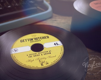 Vintage Wedding favor - Vinyl CDs // Gettin' Hitched Records - Yellow label