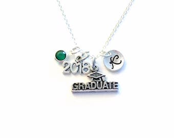 """Graduate Necklace, 2018 Graduation Gift for Student, Silver Grad initial Birthstone custom personalized 18"""" 20"""" 16"""" long short chain Jewelry"""