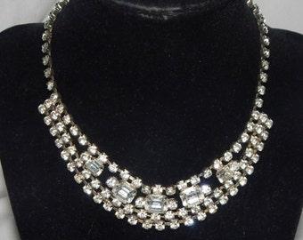 Vintage Clear Rhinestone Necklace Silver Tone  Clear Rhinestone Bib Choker Necklace
