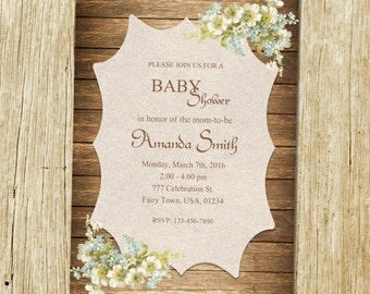 Rustic Baby Shower Invitation, Flower Baby Shower Invitation, Wood Baby Shower Invitation, Country Baby Shower, Vintage Baby Shower, Western