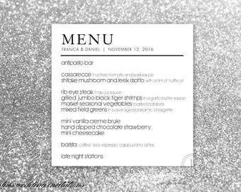 Modern Wedding Menus - Modern Menus - Reception Menus