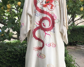 Vintage Silk Ivory Kimono Robe~Hand Embroidered~Red Dragon~Clouds
