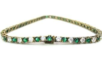 Cubic Zirconia Tennis Line Bracelet Emerald & Crystal CZ Sterling Silver Gold Vermeil Vintage 1970s Art Deco Style Fashion Jewelry