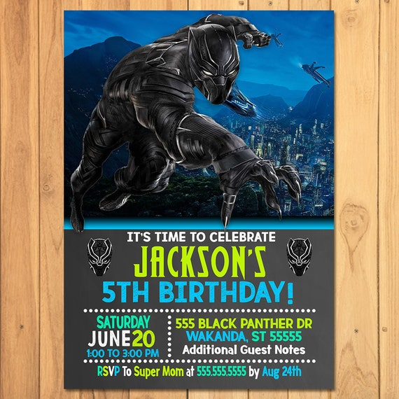 Black Panther Invitation Chalkboard - Black Panther Birthday Party - Black Panther Invite - Black Panther Party Favor Printables