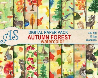 Digital Watercolor Autumn Forest Seamless Paper Pack, 16 printable Digital Scrapbooking papers, Autumn Decoupage, Instant Download, set 345