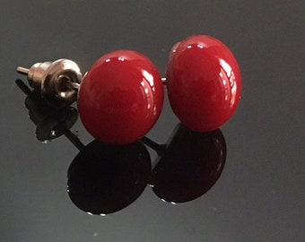 Fused Glass stud earrings - deep red color, handmade.