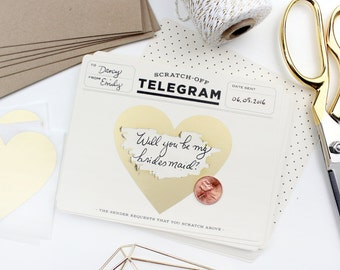 6 Scratch-off Telegrams // Be My Maid of Honor Card, Will You Be My Bridesmaid Proposal, Bridesmaid Box, Vintage // Classic Cream & Black