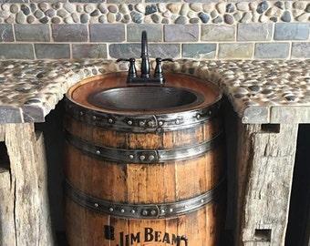 Wine Barrel Bathroom Vanity. Whiskey Barrel Sink Hammered Copper Rustic Antique Bathroom Bar Man Cave Vanity