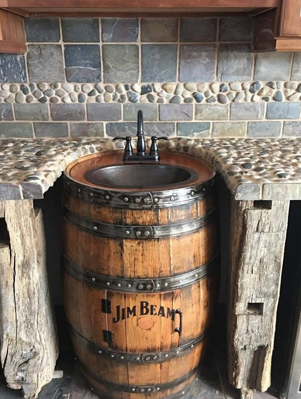 Whiskey Barrel Sink Hammered Copper Rustic Antique Bathroom