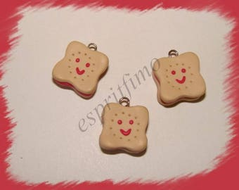 """Choco smiling Strawberry"" charm in polymer clay"