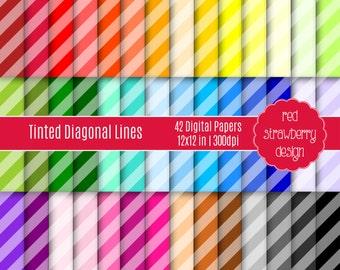 75% OFF Sale - 42 Digital Papers - Tinted Diagonal Stripes - Instant Download - JPG 12x12 (DP226)