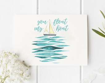 You Float My Boat Valentine Folded Card   Funny, Love, Holiday, Cute, Mermaid, Ocean, Vintage, Boho Greeting Stationery, family