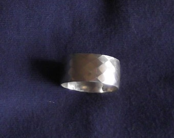 Sterling Silver, Wide-Band, Diamond-Patterned, Man's Ring, Wedding Ring, MTR4