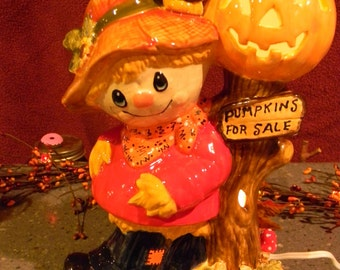 Scarecrow, Crow and  Jack o Lantern JOL  Home & Garden Statue Lighted Pumpkin Ceramic Glazed