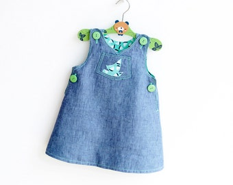 SAILBOAT Dress Overall Girl Baby Girl Dress sewing pattern Pdf, Dungaree, Jumper Pinafore, newborn 3m 6m 9m 18m 1 2 3 4 5 6 years Instant