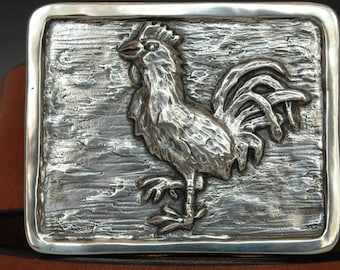 "Mens Belt Bronze Buckle Rooster Buckle with Leather Belt Handcrafted Bridle 1 1/2"" wide Leather Belt Year of the Rooster"