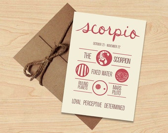 Scorpio Card! Astrological Sun Sign, Zodiac Design. Stationery, Birthday Gift. Envelope included.