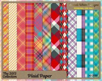 Plaid Backgrounds, Digital Scrapbooking Paper, Cardmaking Paper, Printable Paper