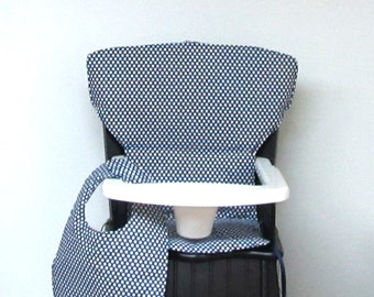 white dots on navy wood chair pad for Eddie Bauer Newport or Safety First chair, cotton custom baby high chair cushion, matching bib