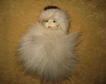 Lady Face Brooch Pin with Fur Vintage