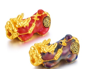 2pcs 24K High Quality Gold Plated Color-Changing Pixiu Pi Yao Bead 12mm 14mm Bracelet New