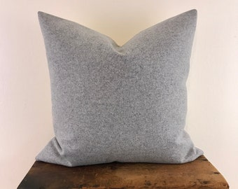 Gray Wool Pillow Cover