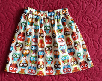 Skirt was cotton lightweight pattern owls for girl 3 years really really soft.