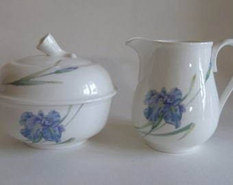 Mother's Day Gift/China Blue Floral cream and covered sugar bowl/Bone china/Christopher Stuart Blue Iris Y1519, floral/modern design