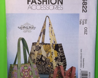 McCall's Fashion Accessories M5822 Tote Bags Three Sizes