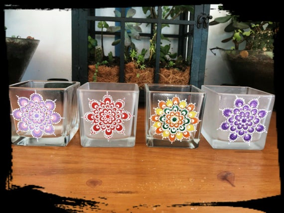 100% Australian Hand Made Range of Mandala Glassware & Soy Wax Tea Light