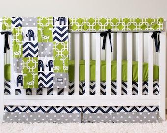Elephant Nursery Bedding Set, Giraffe Crib Bedding, Navy Blue, Lime Green, Gray, Chevron Crib Skirt, Green Crib Sheet, Bumperless Bedding