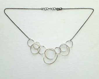 Link Necklace Circle Necklace Sterling Silver Necklace Bent Loop Necklace Oxidized Sterling Silver Statement Necklace