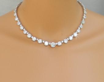 Wedding necklace etsy simple bridal necklace crystal wedding necklace dainty bridal jewelry backdrop wedding jewelry junglespirit Images