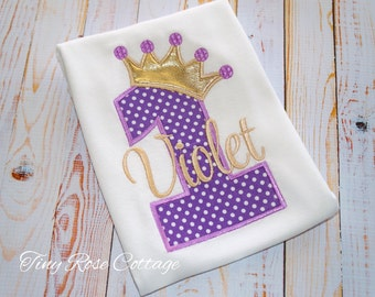 Birthday Shirt. Princess Crown in Purple and Gold. Birthday Shirt/Body Suit