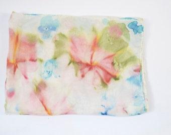 Silk Water Color Scarf // Tie Dye Effect // Pink Green Blue Yellow // Head Scarf // Boho Hippie 70s