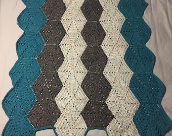 Teal + Gray Baby Blanket