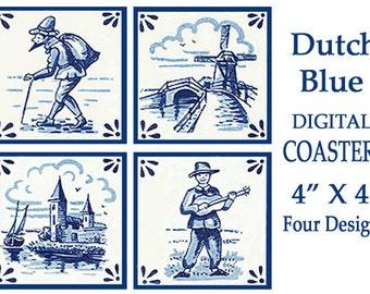 Dutch Blue Printable Tiles, Delft Coaster Digital Square Background Coasters, Set of Printable Cards, craft supplies, scrapbook clipart