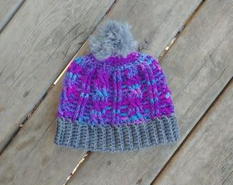 Purple and Gray Cable Hat