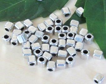 cube metal beads, set of 50, silver beads, tribal metal beads, spacer beads, square beads, bracelet beads, metal spacer beads