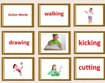 A4 Flash cards, ABC flashcards, real image flashcards fir kids. Large flash cards. Action words. Homeschool Flashcards. Montessori, Doman