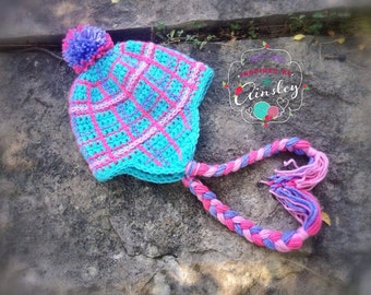 "Crochet Pattern: ""Perfectly Plaid"" Beanie or Earflap Hat, Permission to Sell Finished Items"